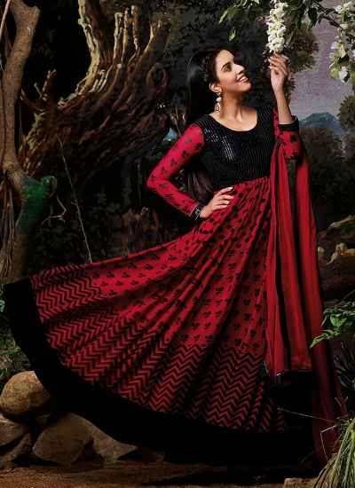 Asin Thottumkal Black and Red Georgette Anarkali Suit