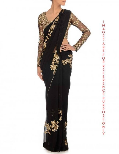 Black Georgette saree cluster sequin work on saree and blouse