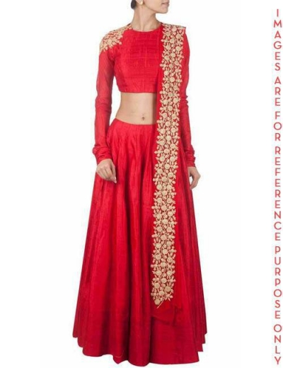 Red embroidered lehenga with red blouse