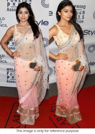 South indian actress Shriya sharan cool pink saree