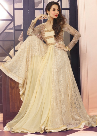 Beige Net And Jacquard Anarkali Suit