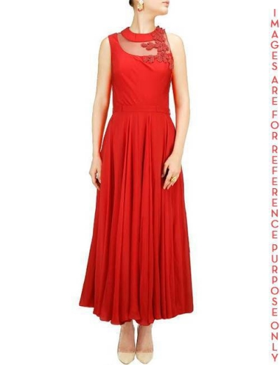 Red midi dress with sheer yoke