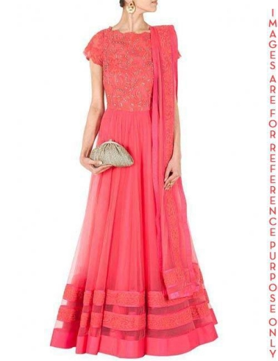 Coral double Layered Tulle Anarkali Kurta