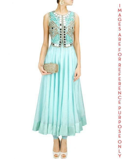 Ice Blue Anarkali Set with Jacket Mirror Work Falisa Vest