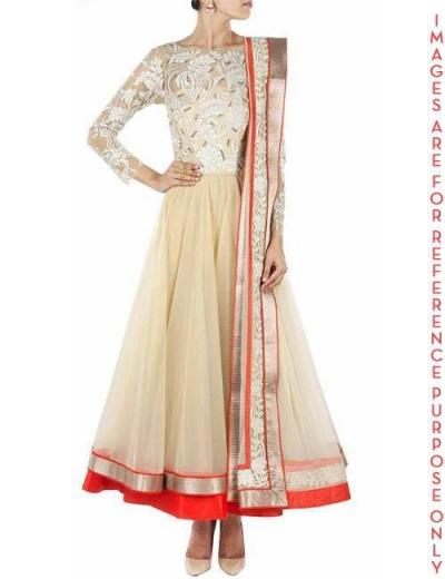 Ivory Full Sleeved Tulle Anarkali