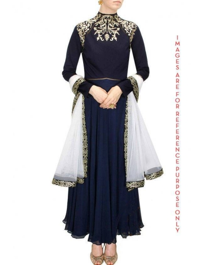 Navy Blue Anarkali suit with Off White Net Dupatta