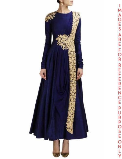 Navy blue anarkali with gold embroidery