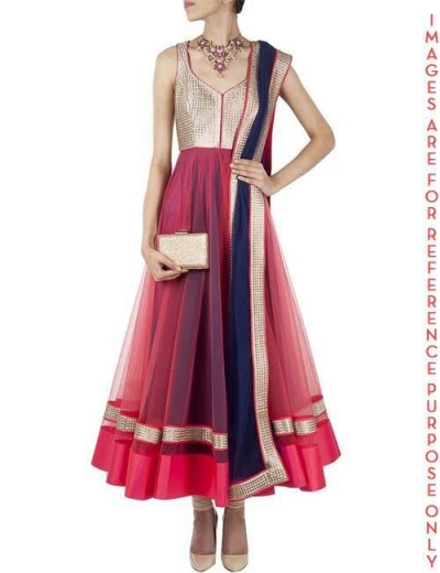 Pink Anarkali with Blue undertones and embroidered Top