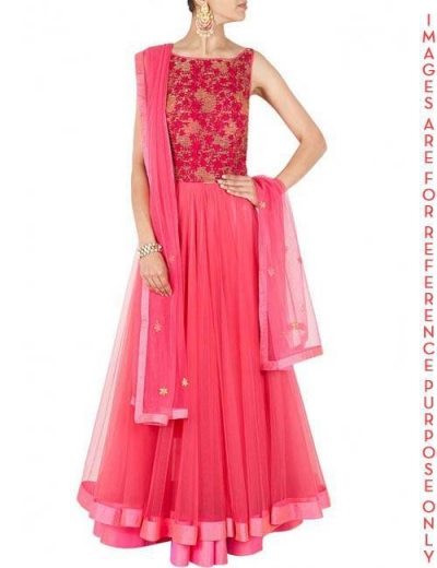 Pink Tulle double Layered Anarkali