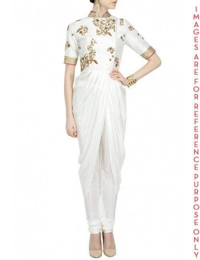 Ivory georgette drape embroidered Kurta