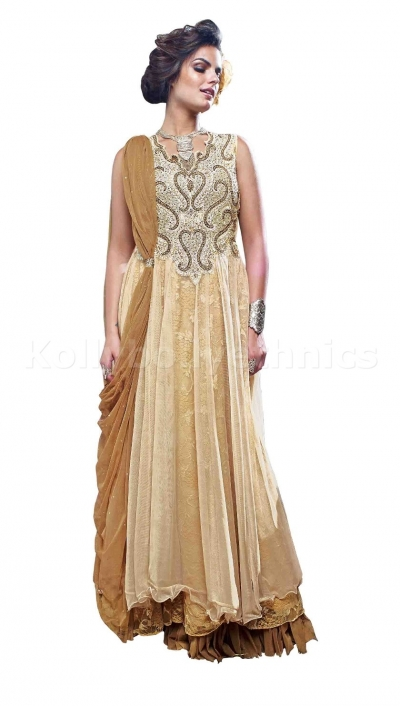 Beige colour hand work Wedding gown