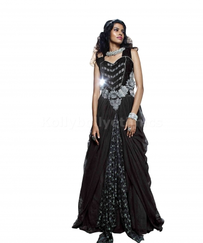 Black colour designer Wedding gown