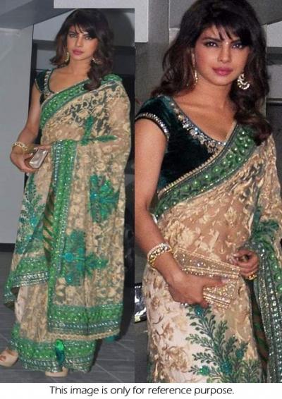 Priyanka chopra cream color saree