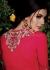 Deep red straight cut wedding wear kameez