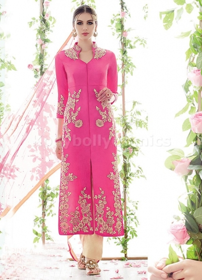 Pink and cream floral straight cut wedding wear kameez