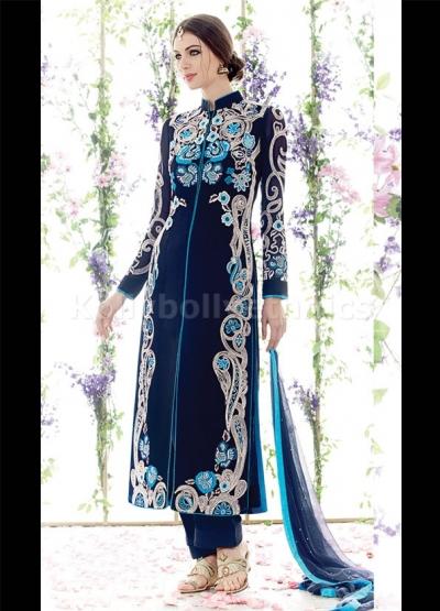 Indigo and sky blue straight cut wedding wear kameez
