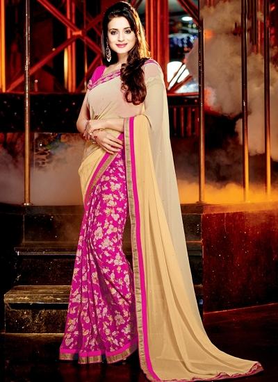 Ameesha Patel Cream Chiffon Georgette Saree