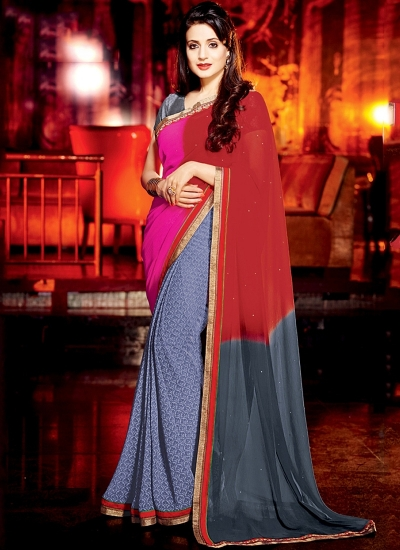 Ameesha Patel Multi Color Georgette Designer Saree