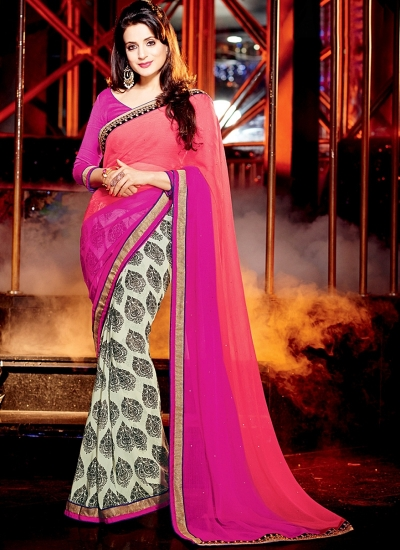 Ameesha Patel Multi Color Chiffon Georgette Saree