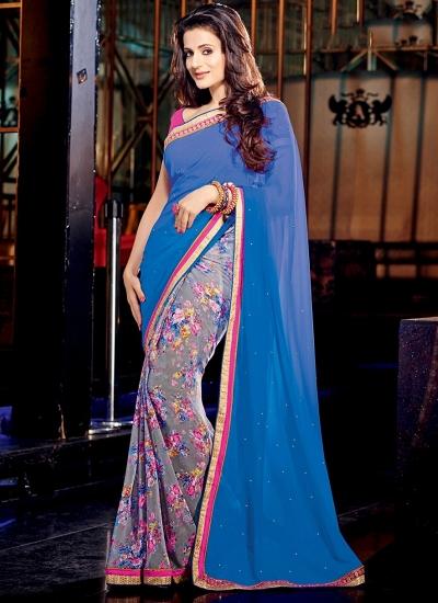 Ameesha Patel Blue Georgette Saree