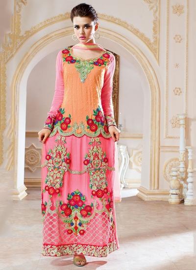Pounce Hot Pink Georgette On Net Lehenga Style Anarkali Suit