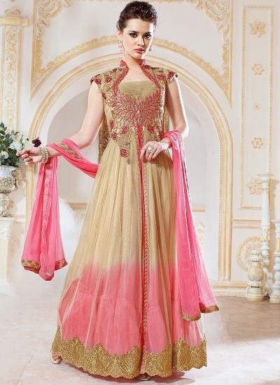 Pounce Cream Net Anarkali Suit