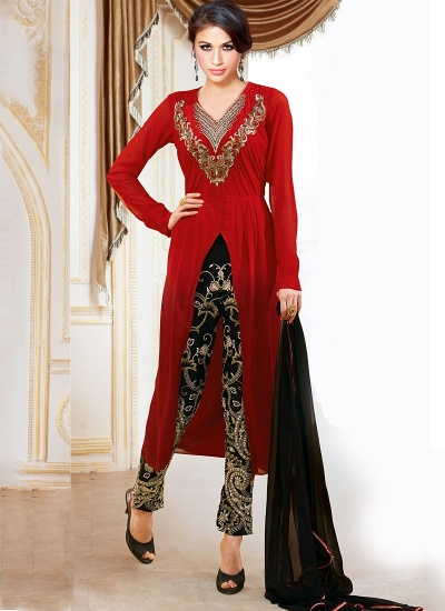 Pounce Red Georgette Pencil Style Churidar Suit