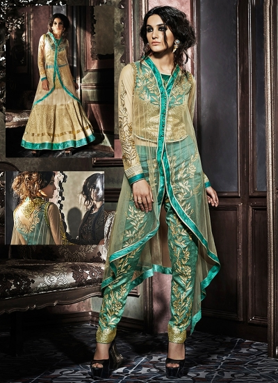 Goodness Brown Net Pencil Style Anarkali Suit