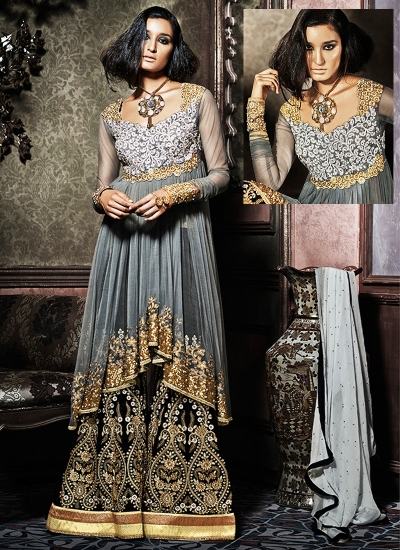 Goodness Grey Net Palazzo Churidar Suit