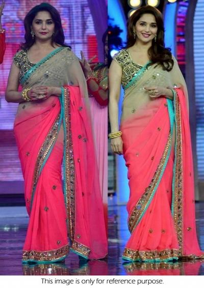 Madhuri dixit dark pink bollywood saree