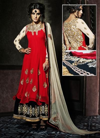 Goodness Red Georgette Lehenga Style Anarkali Suit