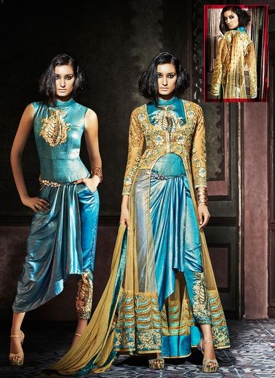 Goodness Brown Raw Silk On Net Pencil Style Churidar Suit
