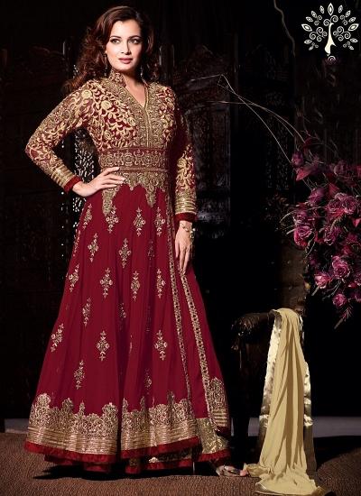 Dia Mirza Maroon Net Anarkali Suit