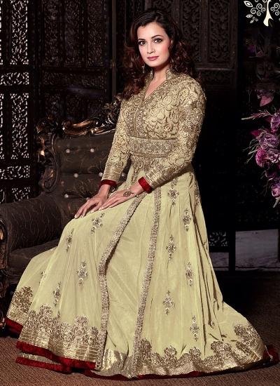 Dia Mirza Off White Net Anarkali Suit