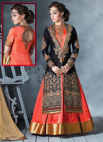 Obligingness Black Bhagalpuri Silk Lehenga Style Anarkali Suit