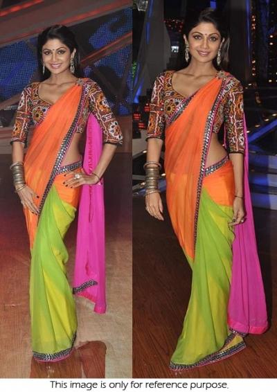Shilpa shetty nach baliye tri color saree
