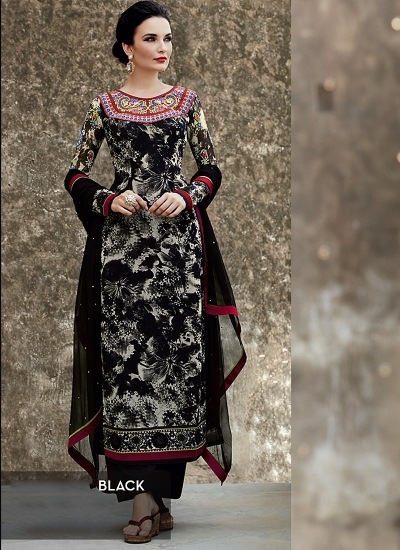 Amicability Black Cotton Silk Palazzo Churidar Suit
