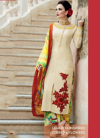 Amicability Off White Cotton Silk Palazzo Churidar Suit