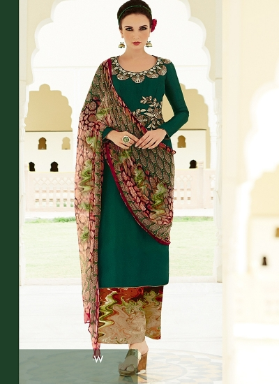Amicability Green Cotton Silk Palazzo Churidar Suit