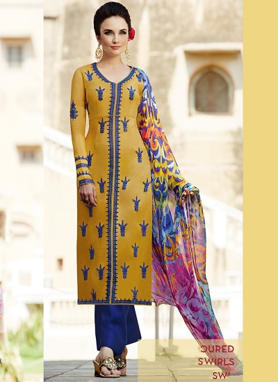 Amicability Gold Cotton Silk Palazzo Churidar Suit