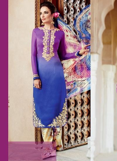 Amicability Multi Color Cotton Silk Palazzo Churidar Suit
