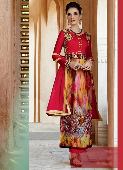Amicability Red Cotton Silk Palazzo Churidar Suit