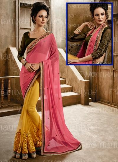 Affability Pink Georgette On Net Saree