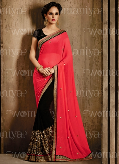 Affability Red Georgette Sarees