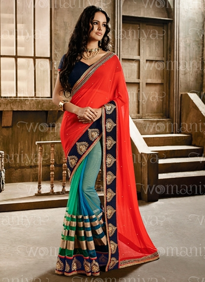 Affability Multi Color Georgette Designers Saree