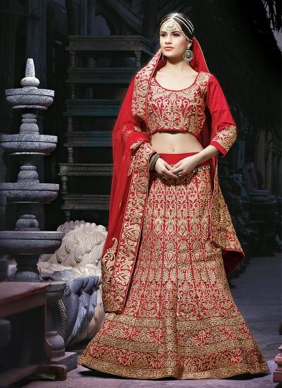 Decency Red Georgette Lehenga Choli