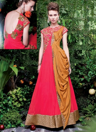 Amicableness Red Georgette Anarkali Suits