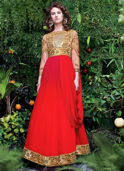 Amicableness Red Georgette Anarkali Suit