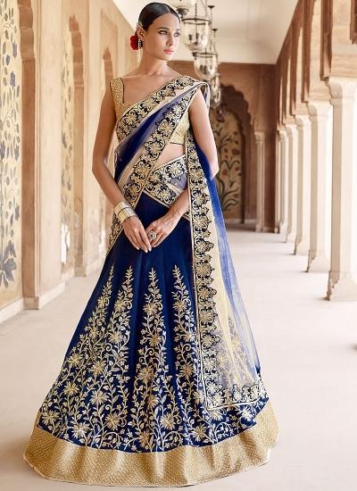 Baronial Marine Blue Bhagalpuri Silk Lehenga Choli