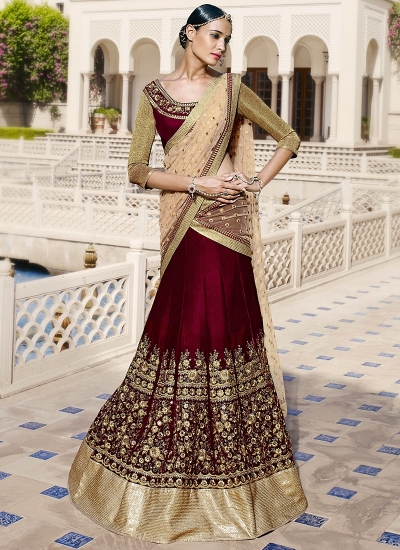 Charming Maroon Velvet Lehenga Choli